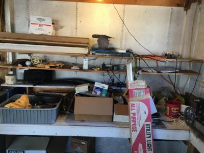 Contents of workbench in corner of barn