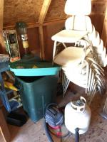 Stackable Chairs, Propane Tank, Shelf and Contents, Coleman Lantern