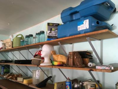 Contents of Shelves, includes, water jugs, Mason Jars, Misc and Desk under the shelves
