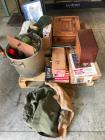 Pallet of Estate Items including Vintage Radio and Cabinet
