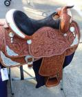 "Circle Y Western Show Saddle with Saddle Carrier- Pecan, 16.5"" Seat, 27.5"" Length, 15.5"" Depth"