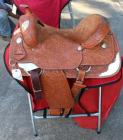 "Silver Royal Western Show Saddle with Saddle Carrier- Double Skirt, 17"" Seat, 27"" Length, 14"" Depth"
