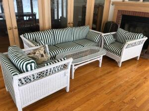 Wicker Set, Couch, 2 Chairs and Coffee Table