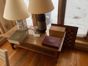Oak Coffee Table, 2 lamps, 2 Chess Sets and Webster Dictionary