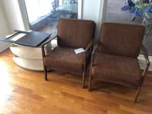 Pair of Mid Century Modern Chairs and Small table/shelf