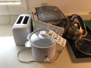 Toaster, Small Crock Pot, Dish Set and Tea Kettle