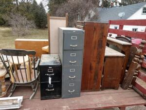 Filing Cabinets, Rocking Chair, and More (wagon not included in lot)