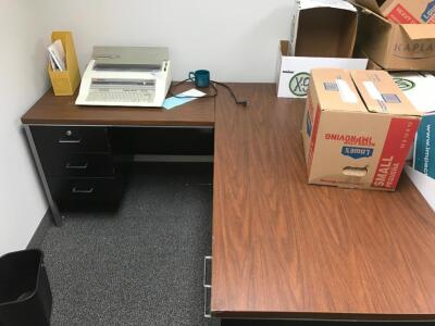 L Shaped Desk, File Cabinet