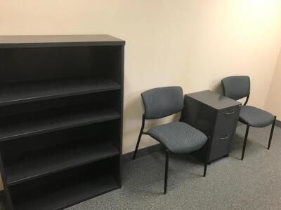 Office Work Station, Shelving Unit, Chairs, File Cabinet