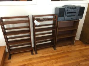 Stereo and 3 wooden shelves