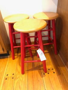 (3) Wooden Stools
