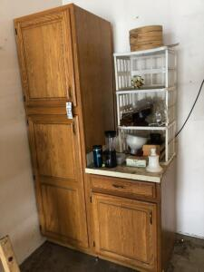Wooden Cupboard and Contents in Garage