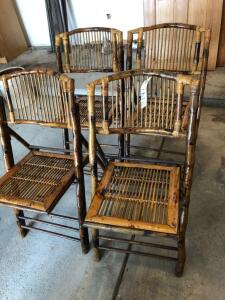Wooden and Cane Folding Chairs
