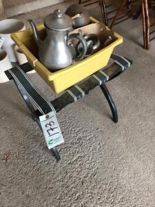 Luggage Rack and Tote with Tea Set and Misc.