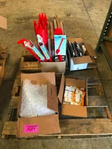 Pallet of Snow Blower Safety Tools, Screens, Phone and Ipad Covers, Kinde Baby Bottle Warmer, MIsc.