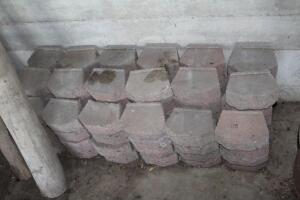 Numerous landscape retaining wall blocks