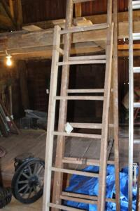 40ft wooden extension ladder and small wooden ladder