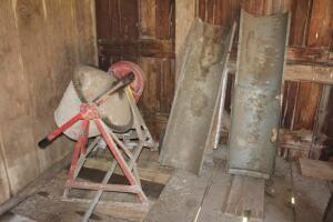 Electric cement mixer and cement chutes