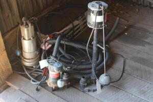 3 Sump pumps with hose, work
