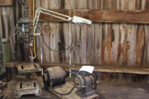 Vintage drill press and bench grinder