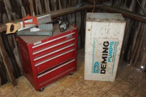 5 drawer tool box, drill, miter saw, hanging cabinet