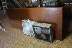 2 box fans and large folding table