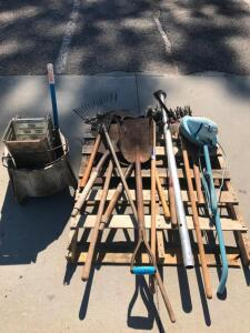 Pallet of Yard Tools, Mop Bucket, Floor Scrubber