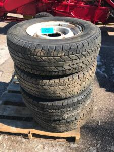 (4) LT245/75R16 Tires on 8 Lug Chevrolet Rims