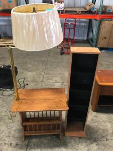 Side Table with Rack and Overhead Light, Shelving Unit