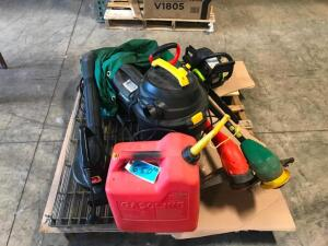 "Pallet of Electric Yard Tools, 14"" Chainsaw"