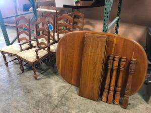 Dining Table with 3 Leaves and 6 Chairs