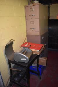 Mimeograph with Stand and Filing Cabinets
