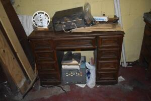 Wood Desk with Contents