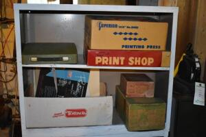 Table Top Printing Presses with Metal Cabinet and Contents