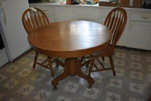Round Wooden Dining Room Table with 2 Chairs