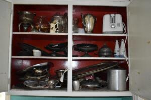 Contents of Cabinet- Silver Plated Platters, Serving Dishes and More