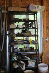 Contents of Shelving Unit- Shop Lights, Reese Hitches, Ratchet Straps, Etc.