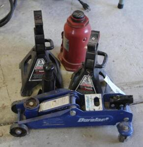 Duralast Floor Jack, (2) Craftsman 3 Ton Jack Stands and Bottle Jack