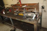 Steel framed wood topped work bench with grinder chain vise NOT included