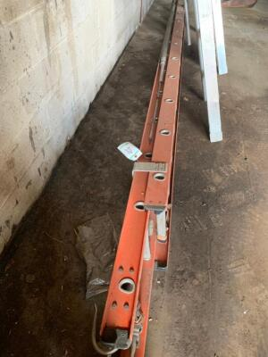 2 Fiberglass extension ladders damaged