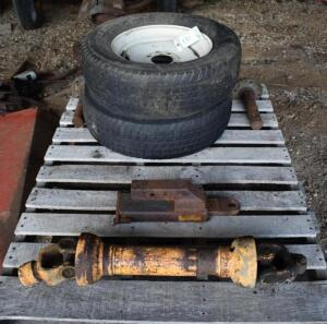 Pallet of Tires, Axles, PTO Shaft and Cushion Hitch