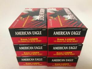(6) Boxes of 9mm Luger Ammo