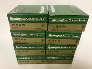 (8) Boxes of .40 cal S&W Ammo