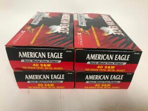 (4) Boxes of .40 cal S&W Ammo