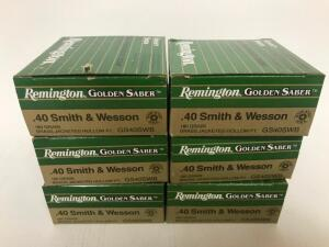(6) Boxes of .40 cal S&W Ammo