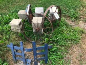 (2) Steel Wagon Wheels, Front Brush Guard