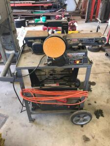 "Mobile Shop Cart with Craftsman 4"" Belt and 6"" Disc Sander, 13"" Scroll Saw, Router Table, Jointer"