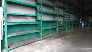 LOT OF PALLET SHOP SHELVING RACK 2' WIDE, 52' LONG 16' TALL