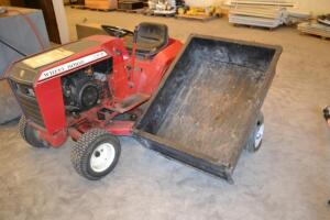 Wheel horse C-85 lawn mower and wagon, roller, aerator