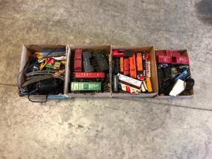 (4) Boxes of Toy Train Parts